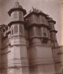 Exterior view of corner pavilions of the City Palace, Udaipur